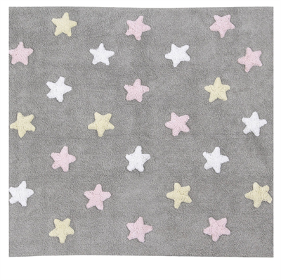 Image of Lorena Canals Tricolor Stars Grey,Pink, 120x160 (LC6417)